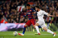 Madrid defender Dani Carvajal (right) tracks the run of Neymar during his side's 2-1 win at the Nou Camp