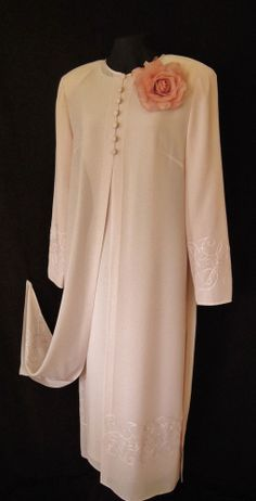 CONDICI Light Pink, Lined, Fitted Dress & Long Sheer Jacket/Coat and matching corsage/hair decoration with embroidery detail on the Coat, size UK16, suitable for Mature Bride, Mother of the Bride/Groom, Wedding Guest, Races or any Special Occasion
