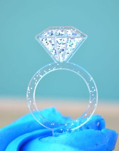 this listing is for a set of 12 sparkly diamond ring cupcake toppers each plastic pick measures 3 inches including the pick our diamond ring - Plastic Wedding Rings
