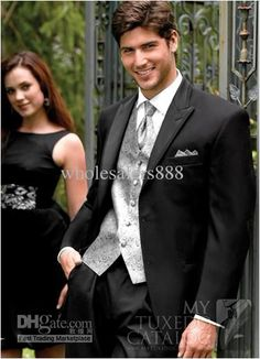 Wholesale Black Suit Light Grey Vest Groom Tuxedos Peak Lapel Best Man Groomsmen Men Wedding Suits Bridegroom (JacketPantsTieVest) H605, Free shipping, $121.59/Piece | DHgate