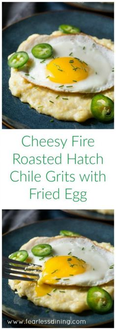 Cheesy Fire Roasted Hatch Chile Grits with Fried Egg is a delicious filling breakfast that is so easy to make. Recipe at http://www.fearlessdining.com