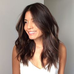 Pin by P on hair and beauty Medium Hair Cuts, Long Hair Cuts, Medium Hair Styles, Curly Hair Styles, Asian Hair Medium Length, Mid Length Hair With Layers, Long Layered Hair, Dark Mid Length Hair, Oval Face Hairstyles