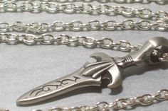 Mens Necklace Sword Pendant on Silver Plated Steel by LizsWares, $30.00