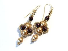 Gold Pearl Earrings Swarovski Pearl Earrings by IrisElmJewelry