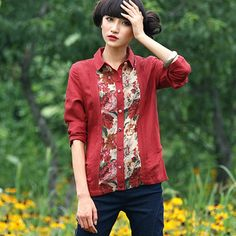 #Swanmarks Liebo New Cotton Fabric Splicing Joint Long Sleeved Blouse