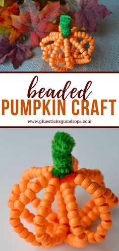 Here's a fun fall craft for the kids - a beaded pumpkin! It's great for improving hand coordination and fine motor skills. It looks awfully cute on the Thanksgiving table, too. Thanksgiving Poems, Thanksgiving Table, Thanksgiving Decorations, Autumn Activities For Kids, Fall Crafts For Kids, Pony Bead Crafts, Leaf Crafts, Autumn Crafts, Pumpkin Crafts
