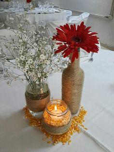 Centro de mesa simple para una  Country Party. #Centerpiece