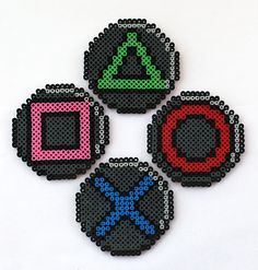 Perler Bead Sony PlayStation Coasters by angelferret