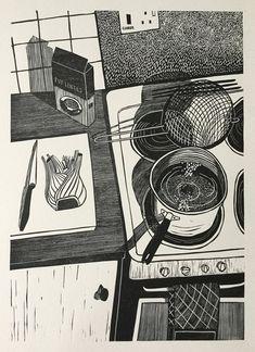 Simmer Lentils Until Just Tender Helen Murgatroyd # Art Et Illustration, Graphic Design Illustration, Illustrations, Dark Drawings, Sketchbook Inspiration, Grafik Design, Linocut Prints, Print Artist, Art Design