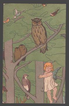 098750 WINGED Little FAIRY & BIRD old Russia ART NOUVEAU RARE