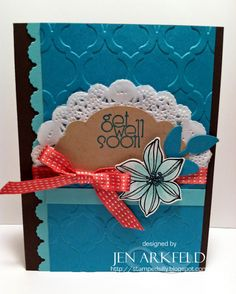 Oh the colors of the Sea!  Coastal Cabana, Bermuda Bay!  Secret Garden stamp set...Mosaic Embossing folder!  Jen Arkfeld - Stamped Silly - Independent Stampin' Up! Demo
