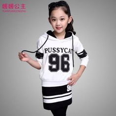 kids girl letter hoodies+pants fashion t shirt for girls sport suit set 6-14 years old tracksuit for girls 11 298