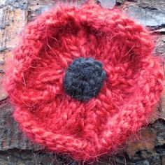 Hand Knitted Remembrance Poppy