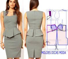 Sewing Patterns Dresses Formal Skirts Ideas For 2019 Sewing Dress, Mod Dress, Dress Sewing Patterns, Sewing Clothes, Clothing Patterns, Peplum Dress, Gray Dress, Fashion Sewing, Diy Fashion