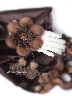 """Броши ручной работы. Ярмарка Мастеров - ручная работа. Купить Брошь """"Северная Венеция"""". Handmade. Коричневый, мех норки, Обучение Leather Embroidery, Beaded Embroidery, Leather Accessories, Leather Jewelry, Wedding Gloves, Fur Bag, Leather Flowers, Beaded Brooch, Fabric Bags"""