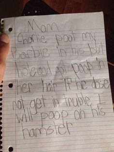 Funniest tattle tale letter. Ever.