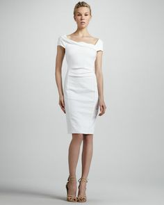 $1795 Donna Karan  Cap-Sleeve Linen-Blend Dress  Resembling the white of clouds, this little white dress from the Donna Karan Spring 2013 collection is your blank canvas for accessorizing. The fitted silhouette and asymmetrical neckline   Linen blend.  Asymmetric neckline with cap sleeves that sit slightly off the shoulder.  Fitted sheath silhouette with pleating at natural waist.  Pencil skirt with small back vent.  Hidden back zip.  Linen/viscose/rayon/spandex.