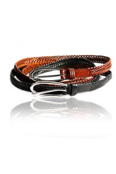 Brown Woven Skinny Belt –   Stylish Skinny Belt, Hand Woven Leatherette, Nickel Metal Finishing, Adjustable Length -	Rs. 399.00