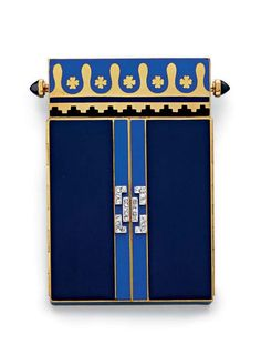 AN ART DECO ENAMEL, SAPPHIRE AND DIAMOND COMPACT  The two-toned blue enamel rectangular case, set with a central rose-cut diamond geometric motif, one side with polished gold, black and light blue enamel floral decoration, the sugarloaf sapphire pushpiece, opening the reveal twin doors of similar white enamel and gold design, with a fitted mirror, mounted in 18k gold, circa 1930