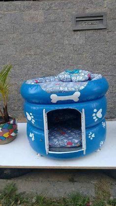 PEQUENAS IDEIAS, GRANDES COISAS...: Casinha para cachorro feita de pneus