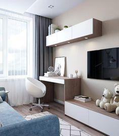 Bedroom Girls Design Desks 59 Ideas For 2019 Living Room Tv, Interior Design Living Room, Living Room Designs, Tv In Bedroom, Bedroom Furniture, Trendy Bedroom, Bedroom Girls, Furniture Sets, Modern Bedroom Design