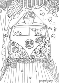 Kombi travels coloring page