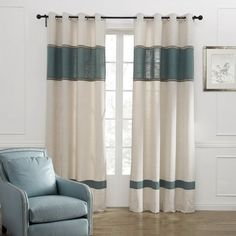 Leyden Grommet Top Neoclassical Jacquard Stripe Beige Linen/Cotton Blend Curtain Drapes Multi Size Available Custom (One Panel) 100Wx102'L -- Review more details here (This is an amazon affiliate link. I may earn commission from it)