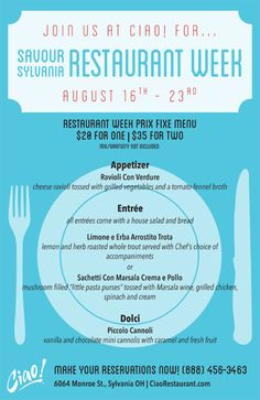 Join us at Ciao! for Savour Sylvania Restaurant Week Aug. 16rd – 23rd