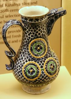 Artist 	Anonymous (Kütahya) Title 	Pitcher Date 	second half of 18th century Medium 	earthenware Dimensions 	Height: 23.6 cm (9.3 in). Diameter: 13.8 cm (5.4 in).