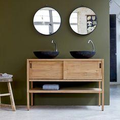 Waschtisch aus Holz mit zwei Waschbecken