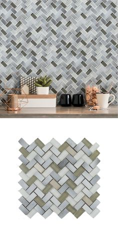 Made from glazed basalt and glass, these Tephra Dusted Moon Herringbone Mosaic Tiles are perfect for creating a feature wall in your kitchen, bathroom, bedroom or living area! Their herringbone design allows you to create a trendy display. Bathroom Pink, Color Tile, Herringbone Pattern, Floor Space, Mosaic Tiles, Living Area, Tile Floor, Tapestry, Moon