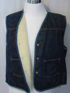 Mens XL Carhartt denim sherpa lined vest made in USA metal snap Work Ranch #Carhartt