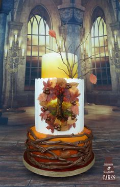 Autumn Leaves Wedding Cake - Cake by Dragons and Daffodils Cakes