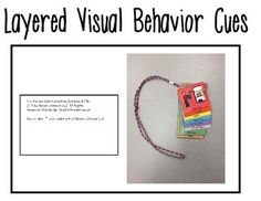 These visuals were created to be worn on a lanyard for quick and easy access. They are color coded and layered for maximum ease of access. Visual cues on lanyard: clean upwork quietstand upsit in chairsit on floorline up walk Zones Of Regulation, Behavior Interventions, Visual Cue, Special Education, Easy Access, Coding, Positivity, Color, Colour