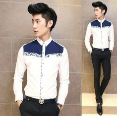 2014 Spring Autumn Fashion Long-sleeve Men Shirts Floral Splicing Fancy Event Stylish Shirts Wholesale $25.58 Mens Hottest Fashion, Mens Fashion, Fashion Shirts, Stylish Shirts, Casual Shirts, Men Shirts, Spring Shirts, Men Looks, Dress Codes