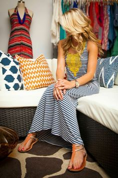Yes - this maxi dress is adorable! LOVE! Do they have it in blues? I think I saw a shirt earlier w/the same top half but in blues? Would work w/my family pictures this maxi comes in blue. If so... Cute, cute, cute!: