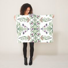 Art Deco Floral Fleece Blanket - floral style flower flowers stylish diy personalize