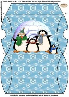 Christmas Penguins Pillow Box on Craftsuprint designed by Sandra Carlse - This is a lovely gift idea for Christmas. Gifts