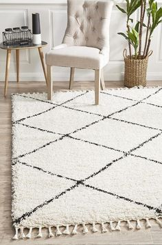 Saffron 22 White Rug - Online Only - Matt Blatt Moroccan Pattern, Moroccan Design, White Shag Rug, White Rugs, Grey And White Rug, Rustic Rugs, Transitional Rugs, Small Rugs, Rugs Online