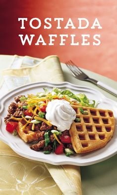 Can't decide if you want breakfast, lunch or dinner? These Tostada Waffles are perfect for any time of day! The light sweetness of the waffle perfectly balances the bold flavors and mild heat of the Tostada fixings! Ready in just 25 minutes, this dish is sure to please even the most undecided eater!