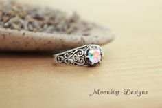 Opalescent Topaz in Sterling Silver Filigree Ring - Engagement Ring, Promise Ring, Birthstone Ring by moonkistdesigns on Etsy