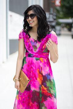 Wedding guest dress - maxi dress, cold shoulder, watercolor print    wedding season, summer fashion, fall fashion