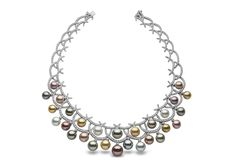 Carnevale necklace from the Yoko London Masterpiece Collection. The necklace features 10-15mm natural colour South Sea, Freshwater and Tahitian pearls, with 17.61cts diamonds in 18kt white gold.