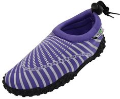 Women's Easy USA Wave Water Shoes Pool Beach Aqua Socks 1177 Purple 5 *** Click image to review more details.