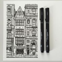 art drawing pen sketch illustration linedrawing london architecture buildings street is part of pencil-drawings - Architecture Drawing Plan, Architecture Drawing Sketchbooks, London Architecture, Building Drawing, Building Sketch, Building Art, Building Painting, Building Illustration, Pen Illustration