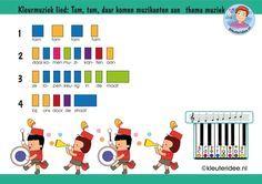 Bladmuziek voor kleuters, lied Tam, tam daar komen muzikanten aan, thema muziek, met uitbreidingen op kleuteridee, free download