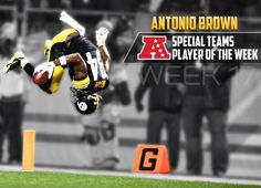 Congratulations to Antonio Brown, who was named the AFC Special Teams Player of the Week! Here We Go Steelers, Antonio Brown, Steeler Nation, Team Player, Pittsburgh Steelers, Nostalgia, Congratulations, Football, City