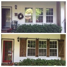 Before and after curb appeal improvement by adding custom built barn door style shutters. @oldhomemystyle
