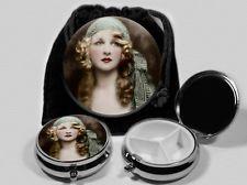 Gypsy Woman  Vintage Art  Pocket Mirror and  Pill Box  #5703