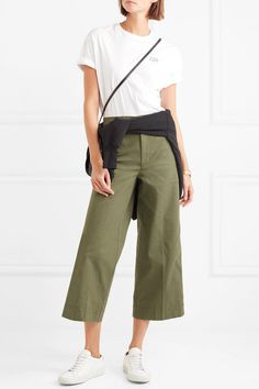 Army-green stretch-cotton Button and concealed zip fastening at front 98% cotton, 2% elastane Machine wash Designer color: Solid Palm Tree Imported
